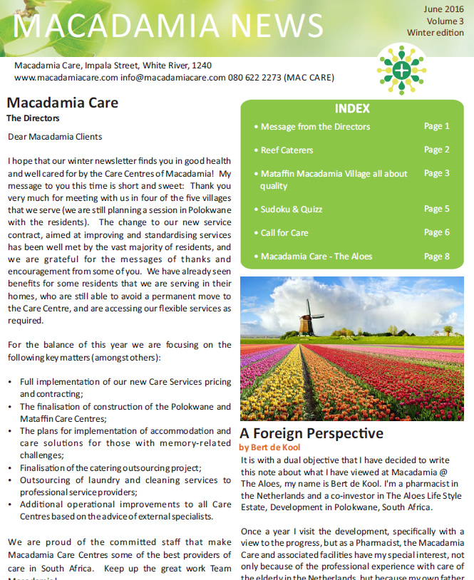 Macadamia Care, Mpumalanga, Limpopo, Nelspruit, White River, Polokwane, Tzaneen, senior living, senior care, healthcare, assisted living, frail care, 24-hour emergency response, Health monitoring and Care planning, Attentive care, Respite care, Memory care, Home-based care